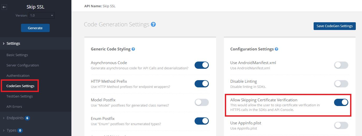 screenshot codegen settings